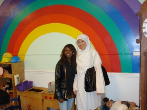 Michelle and Nura during their site visit to one of the childcare centres
