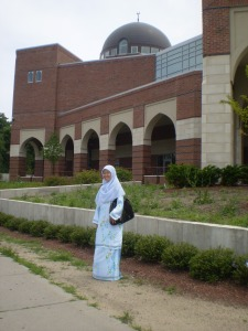 Nura in front of the Roxbury Mosque